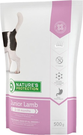 Nature´s Protection Dog Dry Junior Lamb 500 g - Granule pro psy