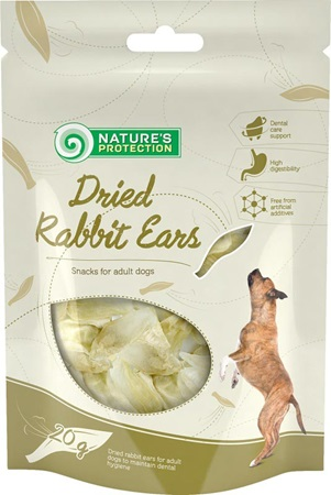 Nature´s Protection Dog Snack Dried Rabbit Ears 20 g - Pamlsky pro psy