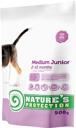 Nature´s Protection Dog Dry Junior Medium 500 g - Granule pro psy