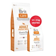 Brit Care Dog Adult Medium Breed Lamb & Rice NOVÝ 12+3 kg ZDARMA - Granule pro psy Brit, Brit Care a Brit Premium