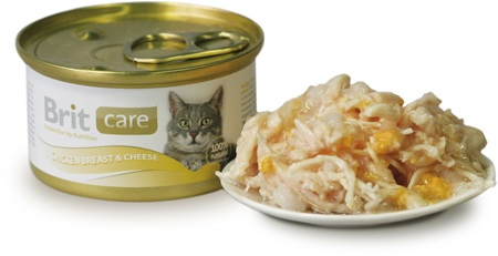 Brit Care Cat konz. - Chicken Breast & Cheese 80 g - Konzervy pro kočky