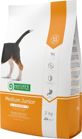Nature's Protection Dog Dry Junior Medium 2 kg - Granule pro psy