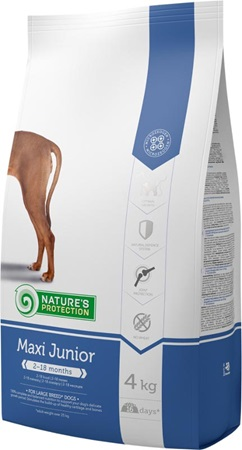 Nature´s Protection Dog Dry Junior Maxi 4 kg - Granule pro psy