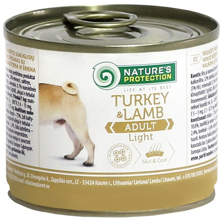 Nature's Protection Dog konz.Light Krůta/jehně 200 g - Konzervy pro psy