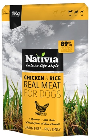 Nativia Dog REAL Meat Chicken & Rice 1 kg - Granule pro psy