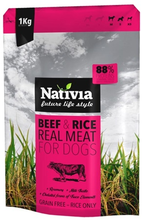 Nativia Dog REAL Meat Beef & Rice 1 kg - Granule pro psy