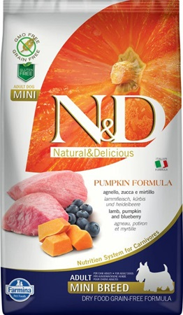 N&D Grain Free Dog Adult Mini Pumpkin Lamb & Blueberry 2,5 kg - Granule pro psy